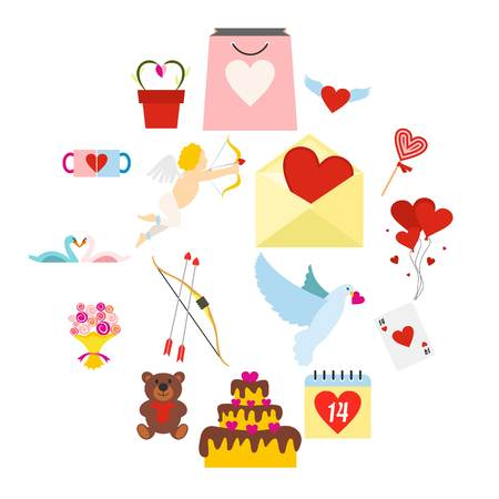 Valentines flat icons set for web and mobile devices