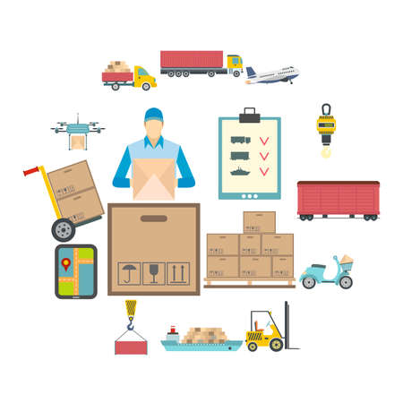 Logistics flat icons set for web and mobile devices