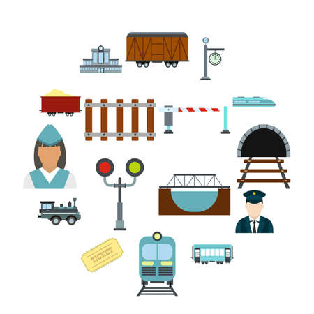 Railroad flat icons set isolated on white background