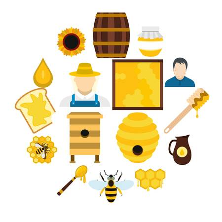 Apiary flat icons set for web and mobile devices