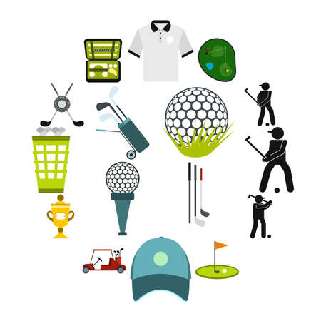 Golf flat icons set for web and mobile devices Vektorové ilustrace