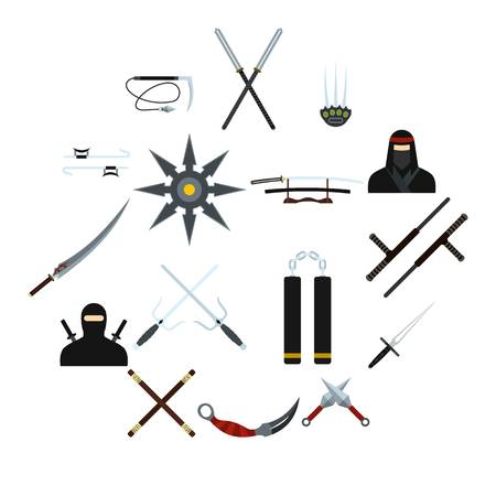 Ninja flat icons set for web and mobile devices