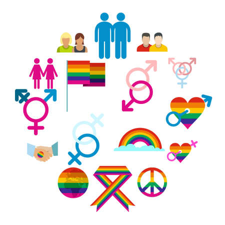 Gays flat icons set. Love, family and gays icons with shadows