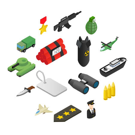 16 weapon isometric 3d icons set.  Color illustrations with military truck helicopter and ship 向量圖像