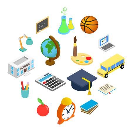 Education isometric 3d icons set isolated on white background