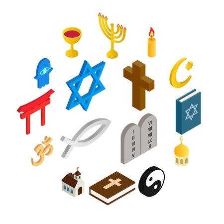 Religion isometric 3d icons set isolated on white background