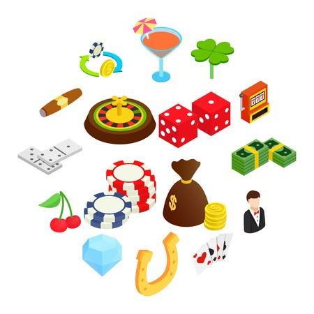 Casino isometric 3d icons set isolated on white background