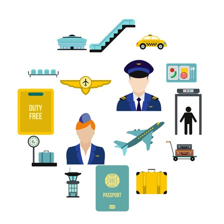 Airport flat icons set isolated on white background