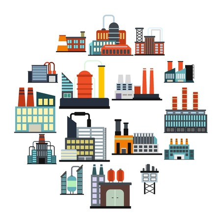 Industrial building factory flat icons set isolated on white background Illustration
