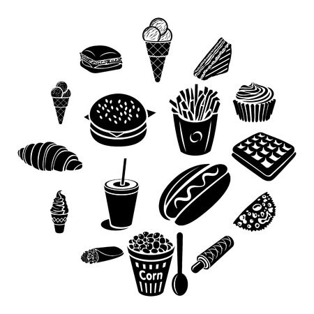 Fast food icons set in black simple style isolated on white background