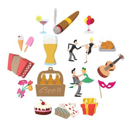 Party Icons set in cartoon style isolated on white background Illusztráció