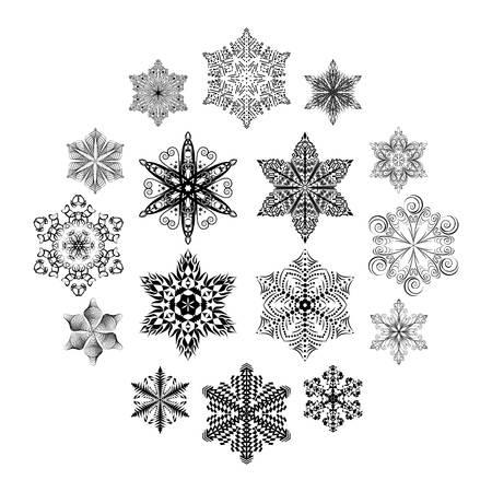 Snowflake set, black ornaments isolated on white background Illusztráció