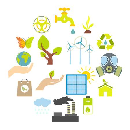 Universal ecology flat icons set. 16 color symbols