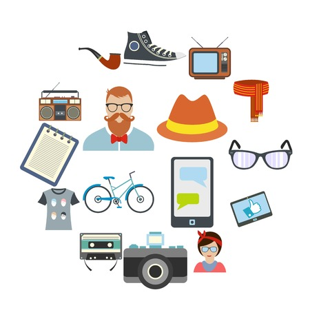 Hipster style flat icons set. Collection with bicycle, glasses, bow, pipe and camera Illusztráció