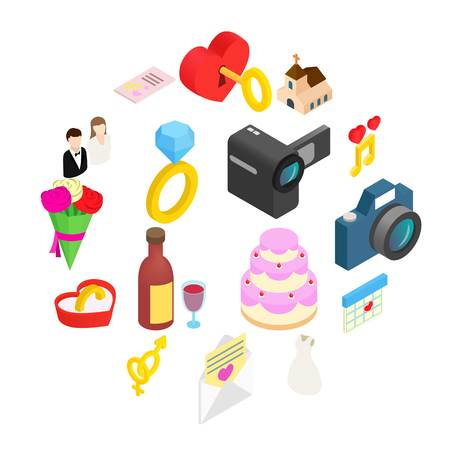 Wedding and love celebration isometric 3d icons set. With chapel and rings on a white background