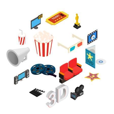 Cinema isometric 3d icons set isolated on white background