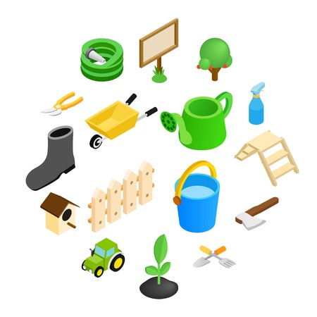 Garden isometric 3d icons set isolated on white background Stock Illustratie