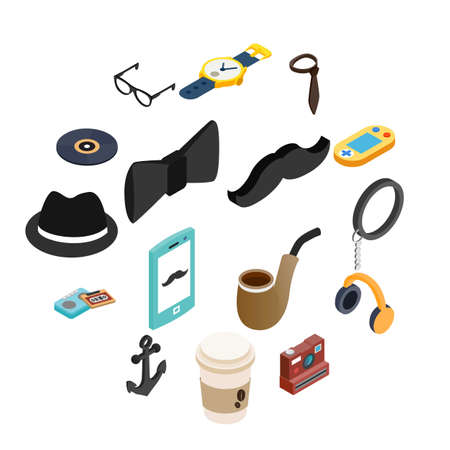 Hipster style isometric 3d icons set for web and mobile devices