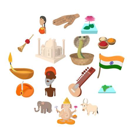 India icons in cartoon style for web and mobile devices Ilustração
