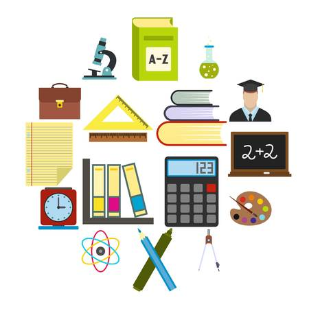Education flat icons set for web and mobile devices