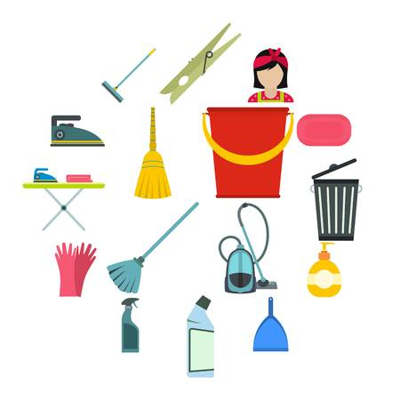 Cleaning flat icons for web and mobile devices Illustration