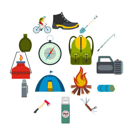 Camping flat icons set for web and mobile devices