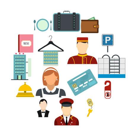 Hotel flat icons set for web and mobile devices Illusztráció