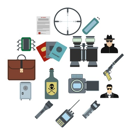 Spy flat icons set for web and mobile devices