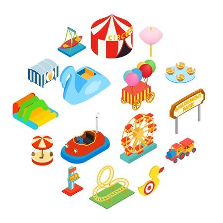 Amusement park isometric 3d icons set isolated on white background Vector Illustration