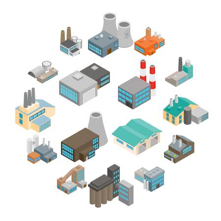 Industrial building factory and power plants isometric 3d icons set
