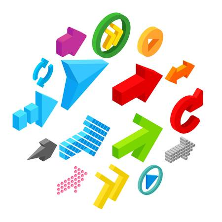 Arrow sign isometric 3d icons set isolated on white background Illusztráció