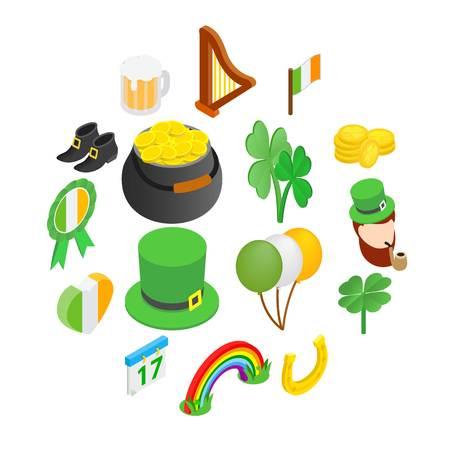 St Patrick Day isometric 3d icons set isolated on white background Illusztráció