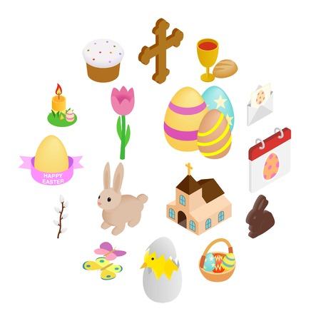 Easter isometric 3d icons set isolated on white background 일러스트