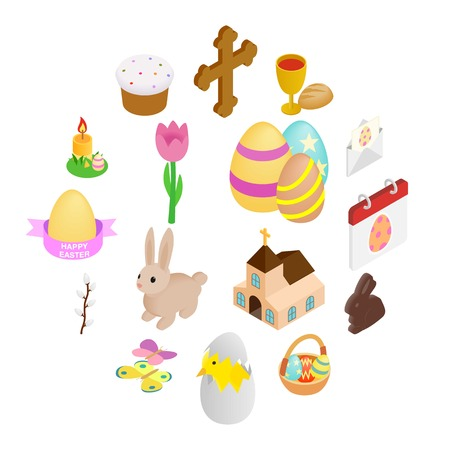 Easter isometric 3d icons set isolated on white background Illustration