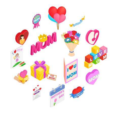 Mother Day isometric 3d icons set isolated on white background