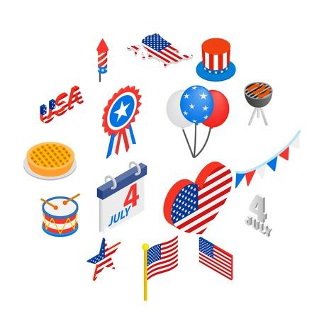 Independence day isometric 3d icons set isolated on white background Illusztráció