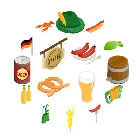 Oktoberfest party isometric 3d icons isolated on white background