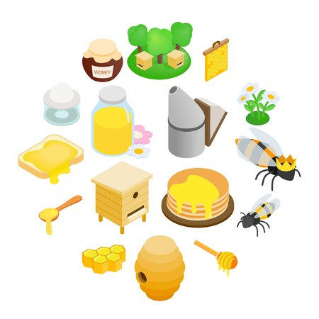 Apiary isometric 3d icon. 16 symbols isolated on a white background