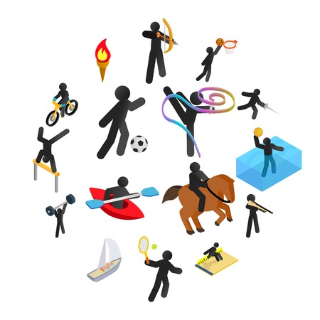Summer sports isometric 3d icons set. Pictograms with black line man isolated on a white background