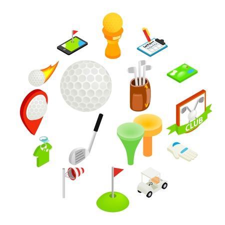 Golf isometric 3d icon set isolated on white background