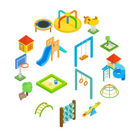 Playground isometric 3d icons set isolated on white background