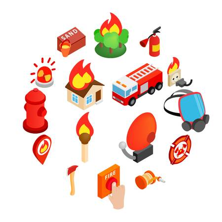 Firefighter isometric 3d icon isolated on white background