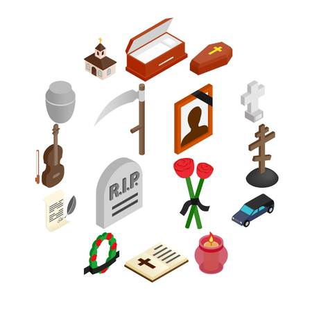 Funeral and burial isometric 3d icons set isolated on white background Illusztráció