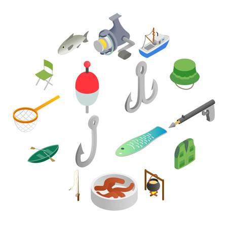Fishing isometric 3d icons set isolated on white background Illusztráció