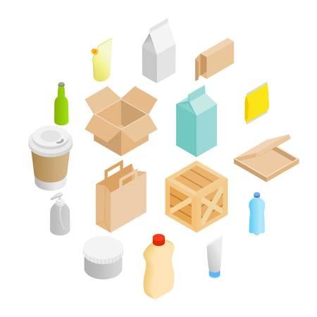 Packaging isometric 3d icons set isolated on white background Illusztráció