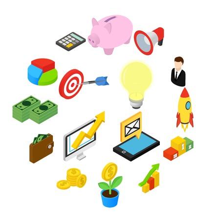 Business isometric icons isolated on white background Illusztráció