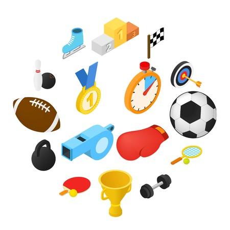 Sport isometric icons set isolated on white background Illusztráció