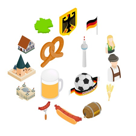 Germany isometric 3d icons set isolated on white background Illustration