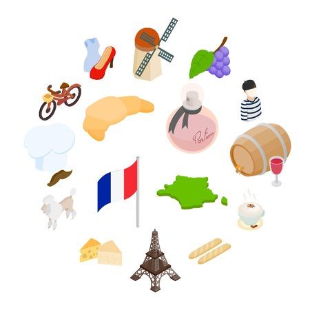 France isometric 3d icons set isolated on white background Illusztráció