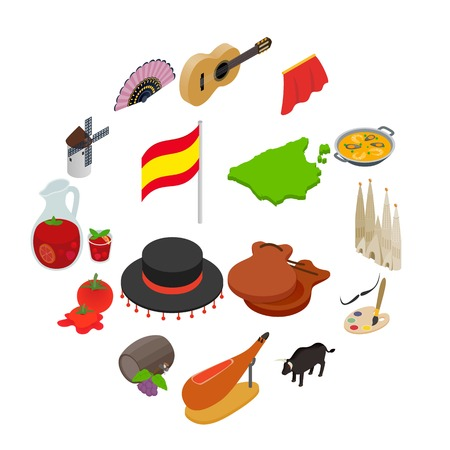 Spain isometric 3d icons isolated on white background Çizim